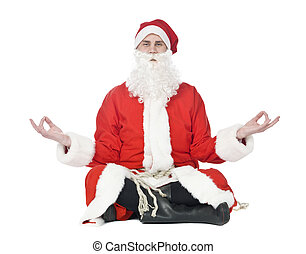 Santa Claus - Meditating santa claus isolated on a white...