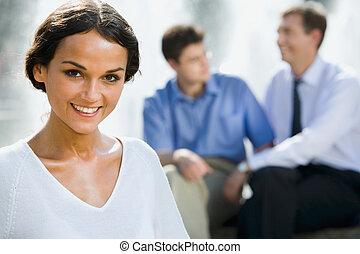 若い, ビジネス, 女性