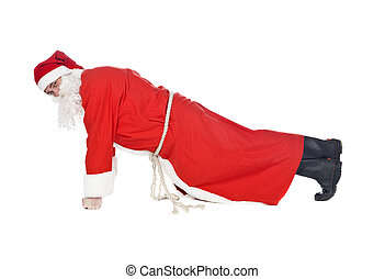 Santa Claus - Santa claus doing push-ups isolated on a white...