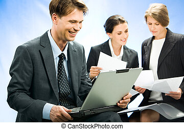 Confident businessman - Confident smiling businessman sees...