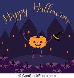 Happy Halloween postcard vector banner. Fun pumpkin...
