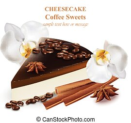 Slice of cheesecake coffee flavor. Coffee beans and orchid...
