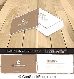 Business card template in retro style. Vector design with front and back side.