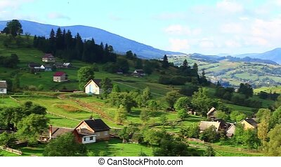 Panorama of Carpathian mountains in a beautiful summer day,...