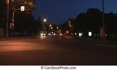 Night scene of car traffic and lights
