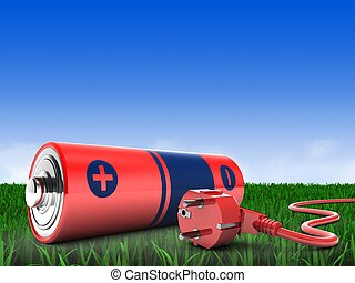 3d battery with power cord - 3d illustration of battery over...