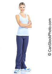 Woman - Fitness and gym Smiling young woman Isolated over...