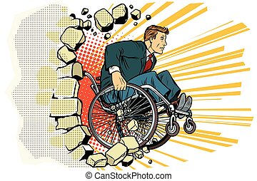 Businessman in a wheelchair. Disabilities and health....