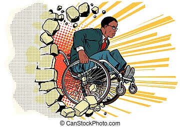 African Businessman in a wheelchair. Disabilities and...