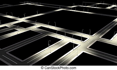 Street road with city road junction in night. - Street road...