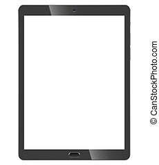 Black tablet pc front view isolated on white background....