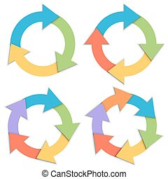 Color paper circular arrows