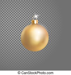 Matted yellow gold Christmas ball tree decoration. 3d...