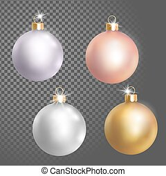 Collection of Christmas ball tree decoration white silver...
