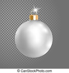 Matted white silver Christmas ball tree decoration. 3d...