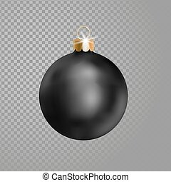 Matted black Christmas ball tree decoration. 3d realistic...