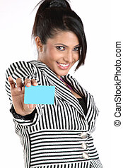 Teenage girl with blue blank card