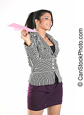 woman with paper plane