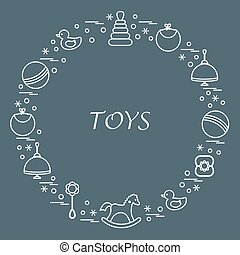 Vector illustration kids elements arranged in a circle:...