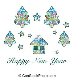 Christmas tree, house, stars with ornament. Design for...