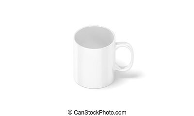 Blank white coffee mug mockup isolated, looped rotation, 3d...