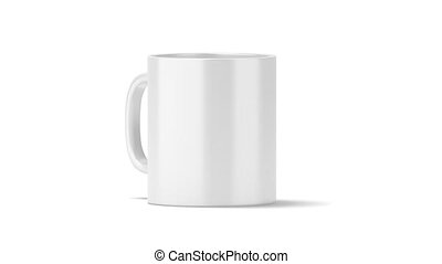 Blank white coffee mug mock up isolated, front view, looped...