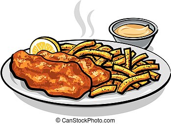 fish and chips with sauce - illustration of battered fish...