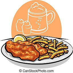 fish and chips - illustration of baked fish and chips with...