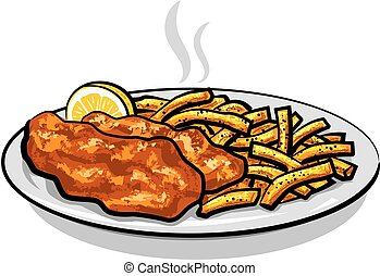 battered fish and chips - illustration of battered fish and...