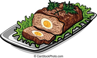 prepared meat loaf - illustration of prepared meat loaf with...