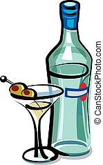 martini cocktail with olives - illustration of martini...