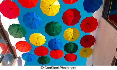 Street Decorated With Colored Umbrellas in Cagnes-sur-Mer,...