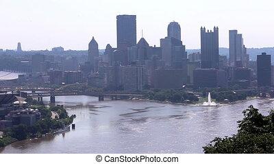 America Pittsburgh skyline shot two - U.S.A. America...