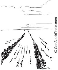 Vector illustration landscape nature with agrarian fields....