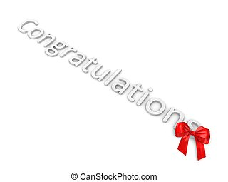 Congratulations - Greeting; congratulation with red ribbon...