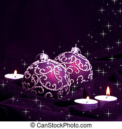 Violet Christmas Balls and Candles