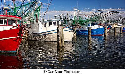 Shrimp Fishing Boats in Harbor in Biloxi, Mississippi -...