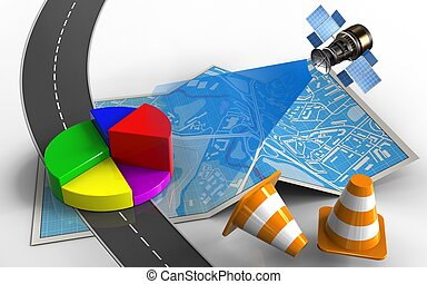 3d business data - 3d illustration of city map with business...