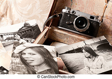 Nostalgia - Black white photos of a young girl from an old...