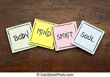 body, mind, spirit and soul - sticky note set