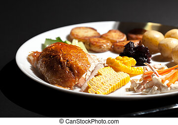 Nutritional chicken dinner meal. Low calorie healthy food on...