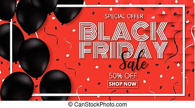 Black Friday Sale promotion  Poster with black Balloons  on red Background.