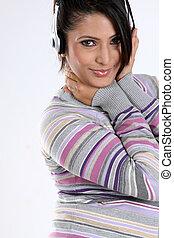 teenage girl with headphones