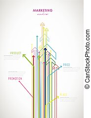 Marketing mix business infographic background with colorful...