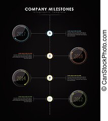 Infographic company milestones timeline vector template with...