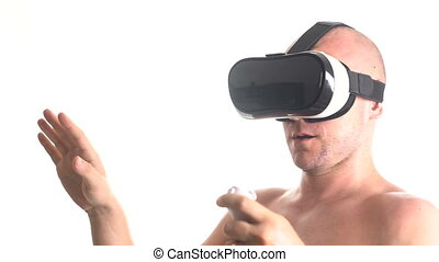 Man using VR-headset - Closeup portrait of man using the...
