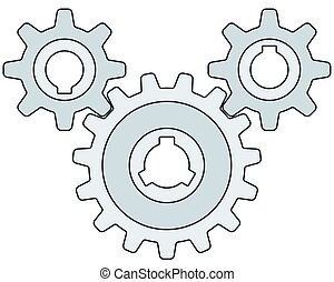 Gear wheel transmission - Illustration of the gear wheel...