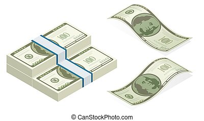 Isometric vector packages of. Hundreds of american dollars...