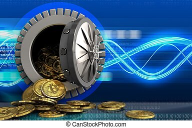 3d bitcoins heap over digital waves - 3d illustration of...