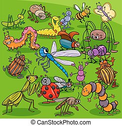 cartoon insects animal characters group - Cartoon...